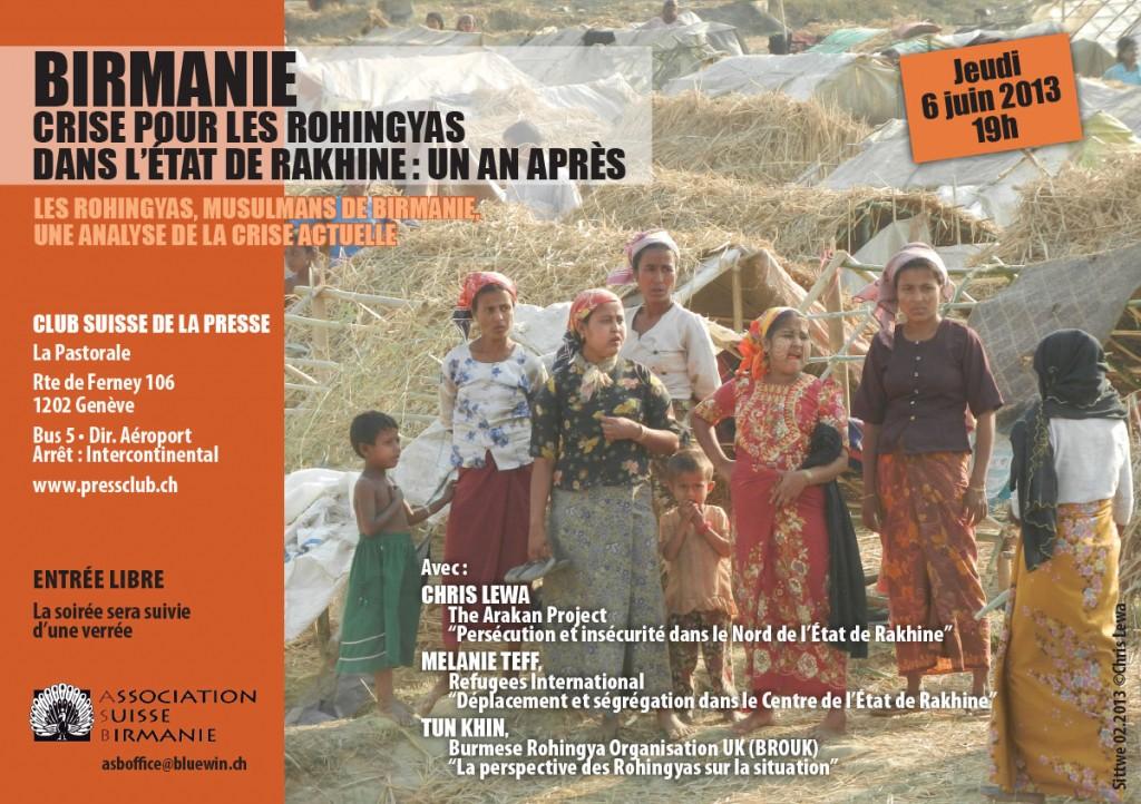 """Birmanie: """"Crise pour les Rohingyas dans l'État de Rakhine: un an après"""""""