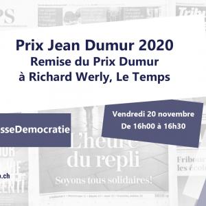 Remise du Prix Jean Dumur à Richard Werly (Le Temps)